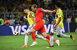 Colombia's Santiago Arias and England's Harry Kane during the 1/8 final game between Colombia and England at the 2018 FIFA World Cup in Moscow, Russia on July 3, 2018. Photo by Lionel Hahn/ABACAPRESS.COM