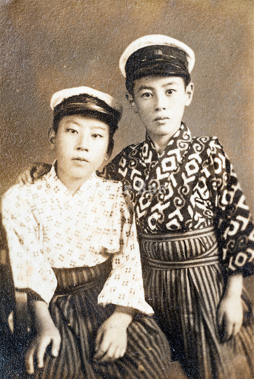 studio portait of two Asian boys Japan ca 1930s