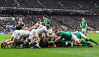 LONDON, ENGLAND - MARCH 17: England and Ireland forwards contest a scrum during the NatWest Six Nations Championship match between England and Ireland at Twickenham Stadium on March 17, 2018 in London, England. (Photo by Ashley Western - MB Media via Getty Images)