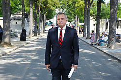 Jean-Charles de Castelbajac during the funeral ceremony of French designer Sonia Rykiel at the Montparnasse cemetery in Paris, France on September 1, 2016. The 86 years old pioneer of Parisian womenswear from the late 1960's onwards, has died from a Parkinson's disease-related illness. Photo by Alban Wyters/ABACAPRESS.COM