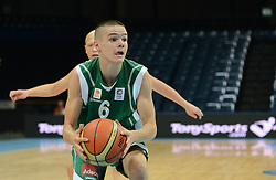 Grega Sajevic of Slovenia during basketball match between National teams of Serbia and Slovenia in Division A of U16 Men European Championship Lithuania 2012, on July 21, 2012 in Panevezys, Lithuania. (Photo by Robertas Dackus / Sportida.com)