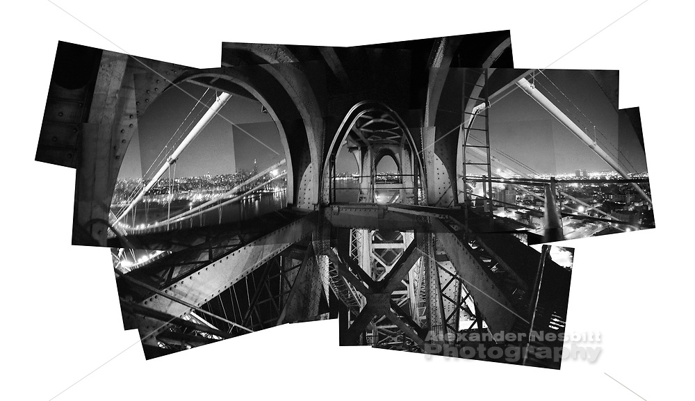 Williamsburg Bridge, New York - You can't get up here anymore.  A very unique collage view from the top of the Brooklyn tower looking over Domino sugar and the east river, 1989