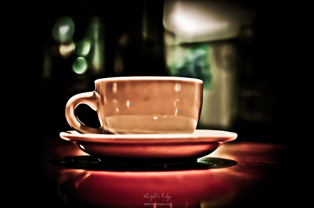 An empty coffee cup sits on a table, after hours, at The Bus Stop Music Cafe in Pitman, NJ.