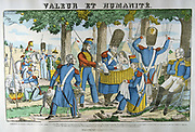 Illustration of an incident during the Peninsular Campaign demonstrating  the humanity of French soldiers.   Following hostilities on the banks of the Tagus  they found a baby asleep in a wicker cradle, rescued it and cared for it.  Popular 19th century hand-coloured woodcut.