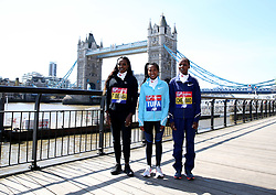 Ethiopia's Tirunesh Dibaba, Tigist Tufa and Bahraini's Rose Chelimo poses during the media day at Tower Hotel London. PRESS ASSOCIATION Photo. Picture date: Wednesday April 18, 2018. Photo credit should read: Steven Paston/PA Wire