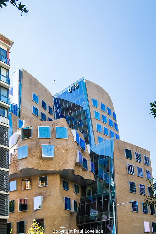 "The first building in Australia designed by one of the worlds most influential architects Frank Gehry. Its named after Dr Chau Chak Wing and described as the "" squashed paper bag"". Its a business school at the university of technology, Sydney."