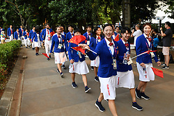 JAKARTA, Aug. 18, 2018  Members of Chinese delegation walk to attend the opening ceremony of the 18th Asian Games in Jakarta, Indonesia, Aug. 18, 2018. The opening ceremony of the 18th Asian Games will be held here on the evening of Aug. 18. (Credit Image: © Huang Zongzhi/Xinhua via ZUMA Wire)
