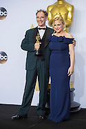 """88th Academy Awards press room.<br /> Mark Rylance, winner of best actor in a supporting role for the film """"Bridge of Spies,"""" with Patricia Arquette."""