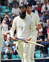 Cricket - 2017 South Africa Tour of England - Third Test, Day Five<br /> <br /> Moeen Ali walks off with one of the stumps after getting a hat trick of wickets (the first since 1938 for a spin bowler) during the afternoon session, <br /> The third wicket was of Morne Morkel which won the 100th test match at The Oval.<br /> <br /> COLORSPORT/ANDREW COWIE