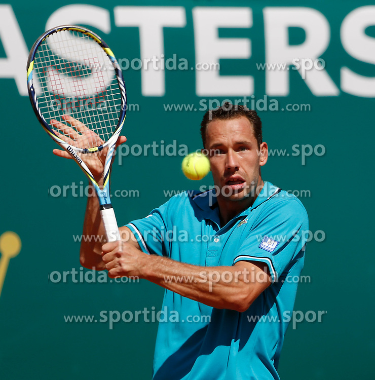 17.04.2012 Country Club, Monte Carlo, MON, ATP World Tour, Rolex Masters, 2. Runde, im Bild Michael Llodra (FRA) in action during the second round match between Michael Llodra (FRA) and Fabio Fognini (ITA)  during Rolex Masters tennis tournament second Round of ATP World Tour at Country Club, Monte Carlo, Monaco on 2012/04/17. EXPA Pictures © 2012, PhotoCredit: EXPA/ Mitchell Gunn