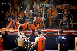Kosarkasi Primorske proslavljaju pobedu sa navijacima na utakmici ABA 2 lige protiv Vrsca, u hali Borac kod Morave.<br /> Cacak, 03.04.2018.<br /> foto: MN press / iv<br /> <br /> Kosarka, F4 Jadranske ABA 2 lige, Vrsac, Sixt Primorska, Radost