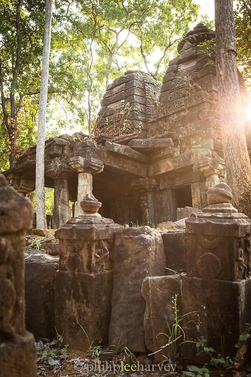 A crumbling Gond temple in a corner of Satpura National Park, Madhya Pradesh, India
