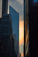 Citgroup Building slanted roof, and Manhattan Skyscrapers at Sunrise