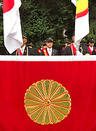 August 15, 2017, Tokyo, Japan: Representatives of the advocacy group Taiwan Civil Government, whose mission is to normalizeTaiwan's legal status in the global community, attended the 72nd anniversary of the end of World War II at Yasukuni Shrine. This is where tens of thousand came out in the rain to pay their respects for Japan's war dead at this national Shinto shrine where nearly 2.5 million war dead from the past 150 years are enshrined. Visits to Yasukuni by top Japanese politicians continue to outrage China, Taiwan and South Korea because it honors 14 World War II class A war criminals who are also enshrined there. Even so, dozens of Japanese lawmakers visited Yasukuni Shrine today, while PM Shinzo Abe sent a ritual offering via his emissary. Photo by Torin Boyd.