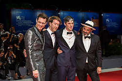 "Jim Carrey and Chris Smith (director), Danny Gabai, Eddy Moretti arriving to the premiere of ""Jim & Andy: the Great Beyond - the Story of Jim Carrey & Andy Kaufman with a Very Special, Contractually Obligated Mention of Tony Clifton"" as part of the 74th Venice International Film Festival (Mostra) in Venice, Italy on September 5, 2017. Photo by Marco Piovanotto/ABACAPRESS.COM"