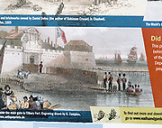 Old print of soldiers and ships River Thames and Tilbury Fort, Tilbury, Thurrock, Essex, England, UK