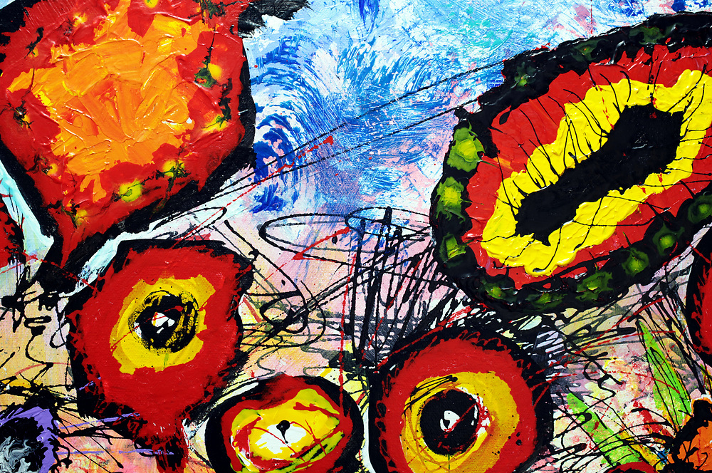 """Detail; 'WILDflowers,' 30"""" x 48,"""" Acrylic on Ink on Canvas, 2017. See (Price and Availability)."""