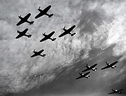 Battle of Britain 10 July-31 October 1940: Hawker Hurricanes of Fighter Command, a first line of defence against the incoming German bombers attacking England, flying in formation in the first major battle to be won in the air. World War II .