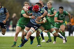 September 23, 2017 - Galway, Ireland - Seb Davies of Cardiff tackled by Jarrad Butler and Kieran Marmion of Connacht during the Guinness PRO14 Conference A match between Connacht Rugby and Cardiff Blues at the Sportsground in Galway, Ireland on September 23, 2017  (Credit Image: © Andrew Surma/NurPhoto via ZUMA Press)