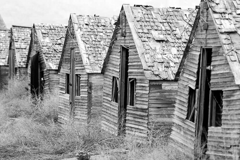 Old animal sheds on a farm near Centerfield, Utah.