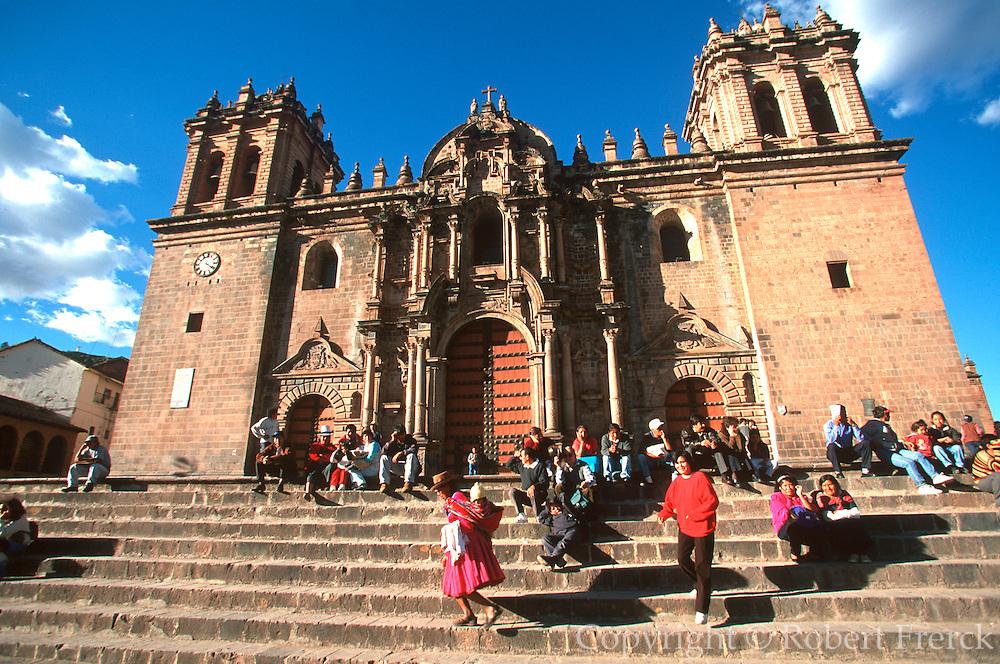 PERU, HIGHLANDS, CUZCO the Plaza de Armas and Cathedral, 1559