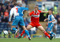 Photo: Back Page Images. 16/10/2004.<br /> Barclays Premiership. Blackburn Rovers v Middlesbrough. Ewood Park.<br /> Ray Parlour gets stuck in as Brett Emerton trys to go past