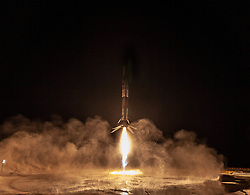 October 7, 2018 - Lompoc, CA, United States of America - The SpaceX Falcon 9 first stage reusable rocket lights up the night sky as it descends to land at Vandenberg Air Force Base October 7, 2018 near Lompoc, California. The rocket carried the Argentine SAOCOM 1A satellite into orbit and then completed the first land based return on the west coast creating a light show in the process for Southern Californians. (Credit Image: © Spacex via ZUMA Wire)
