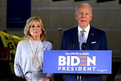 Former Vice President Joe Biden, sided by Dr. Jill Biden, delivers remarks at the National Constitution Center in Philadelphia, PA on March 10, 2020. Biden canceled an earlier scheduled campaign event in Cleveland, OH due to health concerns regarding COVID-19 Coronavirus at large gatherings.