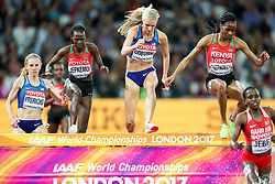 London, August 11 2017 . Emma Coburn, USA, catches Beatrice Chepkoech, Kenya, and Ruth Jebet, Bahrain, in the women's 3000m steeplechase final on day eight of the IAAF London 2017 world Championships at the London Stadium. © Paul Davey.