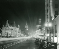 1928 Searchlights on Hollywood Blvd.