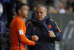 (L-R) Memphis Depay of Holland, coach Dick Advocaat of Holland during the FIFA World Cup 2018 qualifying match between Belarus and Netherlands on October 07, 2017 at Borisov Arena in Borisov,  Belarus