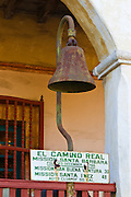 El Camino Real bell at the Santa Barbara Mission (Queen of the missions), Santa Barbara, California