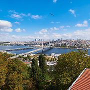 Panoramic view of Golden Horn, Metro and Ataturk bridges, Istanbul, Turkey