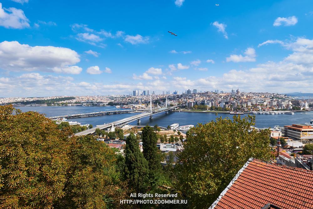 Panoramic view of Golden Horn, Metro and Ataturk bridges, Istanbul, Turkey
