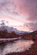 Indian Creek At Heart K Ranch, Genesee Valley, California Mountains, Cloudy Sundown, Evening Sun, Late Sun, Contrails, Storm Clouds, Dark Skies, Fall Leaves, Fall Color, Willows