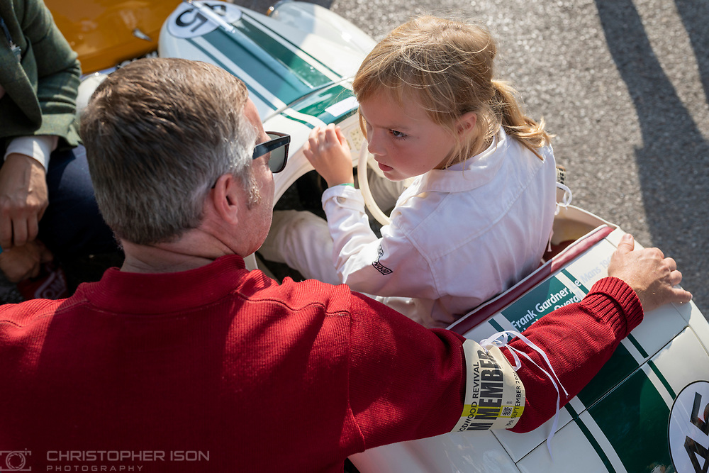 Children prepare for the Settrington Cup race at Goodwood Revival on day two.<br /> Picture date: Saturday September 18, 2021.<br /> Photograph by Christopher Ison ©<br /> 07544044177<br /> chris@christopherison.com<br /> www.christopherison.com<br /> <br /> IMPORTANT NOTE REGARDING IMAGE LICENCING FOR THIS PHOTOGRAPH: This image is supplied to the client under the terms previously agree. No sales are permitted unless expressly agreed in writing by the photographer.