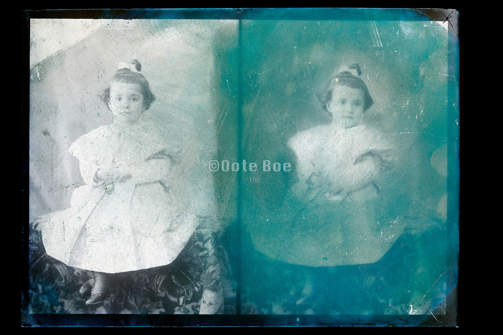 two exposure glass plate with toddler girl portrait France, circa 1930s