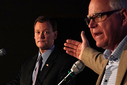 """October 9, 2018 - Willmar, MN, USA - Minnesota gubernatorial candidate Hennepin County Commissioner Jeff Johnson, republican, along with Congressman Tim Walz, DFL, participated in the """"Greater Minnesota Debate"""" in Willmar. ] ANTHONY SOUFFLE • anthony.souffle@startribune.com ....Minnesota gubernatorial candidates Hennepin County Commissioner Jeff Johnson and Congressman Tim Walz participated in the """"Greater Minnesota Debate""""  Tuesday, Oct. 9, 2018 at the MinnWest Technology Campus in Willmar, Minn. (Credit Image: © Anthony Souffle/Minneapolis Star Tribune via ZUMA Wire)"""