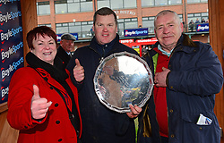 Trainer of General Principle, Gordon Elliott, with his mother Jane and father Pat after his win in the Boylesports Irish Grand National Chase, during BoyleSports Irish Grand National Day of the 2018 Easter Festival at Fairyhouse Racecourse, Ratoath, Co. Meath.
