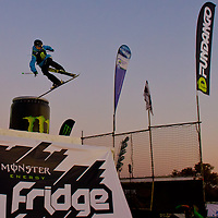 Nico Vuignier from Switzerland performs his trick during the freestyle skiing competition held on the 35 meters high artificial ski jumping ramp on the Monster Energy Fridge Festival in central Budapest, Hungary on November 12, 2011. ATTILA VOLGYI