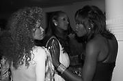 Jocelyne Wildenstein Iman  and Naomi Campbell. Azzadine Alaia installation. 575 Broadway. NY. 22 September 2000. © Copyright Photograph by Dafydd Jones 66 Stockwell Park Rd. London SW9 0DA Tel 020 7733 0108 www.dafjones.com