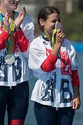 "Rio de Janeiro. BRAZIL. Zoe DE TOLEDO, shows her medel to some one in the crowd  GBR W8+ Silver Medalist, awards dock. 2016 Olympic Rowing Regatta. Lagoa Stadium,<br /> Copacabana,  ""Olympic Summer Games""<br /> Rodrigo de Freitas Lagoon, Lagoa.   Saturday  13/08/2016 <br /> <br /> [Mandatory Credit; Peter SPURRIER/Intersport Images]"