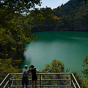 People on the deck near Blue Lagoon (Emerald Lake) in Ko Mae Ko island, Ang Thong National Marine Park islands, Thailand