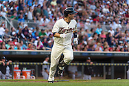 Brian Dozier #2 of the Minnesota Twins watches his home run against the Chicago White Sox on June 19, 2013 at Target Field in Minneapolis, Minnesota.  The Twins defeated the White Sox 7 to 4.  Photo: Ben Krause