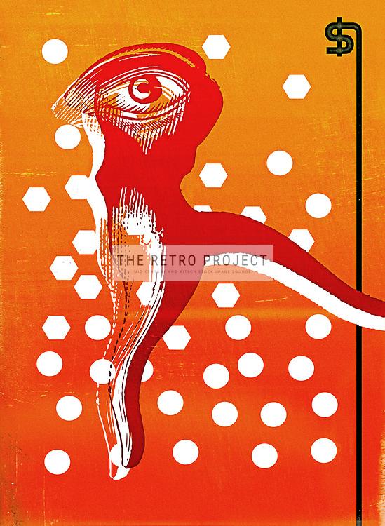 Street Dancer Surrealist Illustration large eye on body with dollar pole on gold orange distressed background