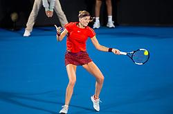 January 10, 2019 - Sydney, NSW, U.S. - SYDNEY, AUSTRALIA - JANUARY 10: Petra Kvitova (CZE) hits a forehand at The Sydney International Tennis in the match between Angelique Kerber (GER) and Petra Kvitova (CZE) on January 10, 2018, at Sydney Olympic Park Tennis Centre in Homebush, Australia. (Photo by Speed Media/Icon Sportswire) (Credit Image: © Steven Markham/Icon SMI via ZUMA Press)