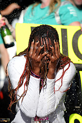 Formel 1: Grosser Preis der USA in Austin, Renntag / 231016<br /> <br /> ***Venus Williams (USA) Tennis Player celebrates victory for Lewis Hamilton (GBR) Mercedes AMG F1 with the team.<br /> 23.10.2016. Formula 1 World Championship, Rd 18, United States Grand Prix, Austin, Texas, USA, Race Day.<br /> ***