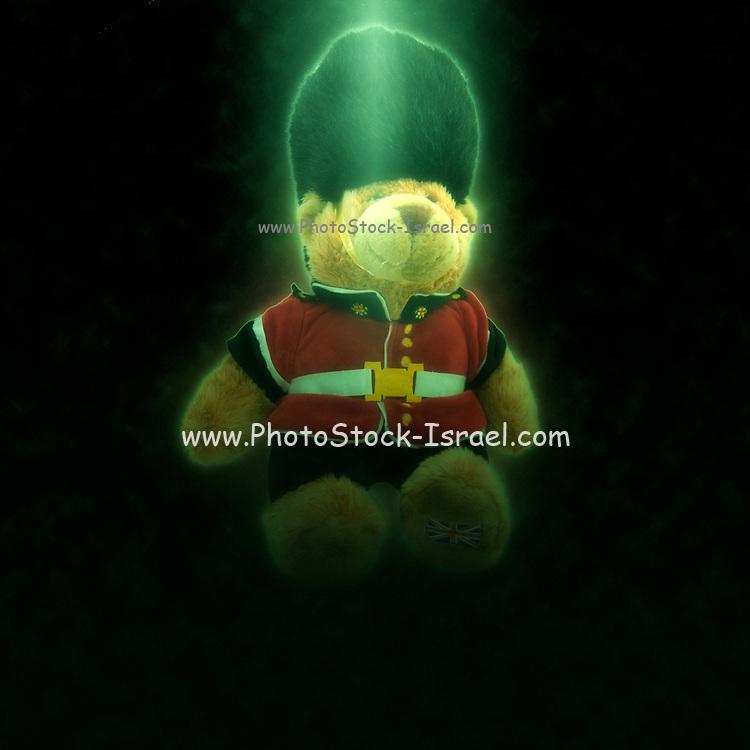 Digitally enhanced image of a British Buckingham Palace beefeater soldier guard Teddy bear stuffed doll