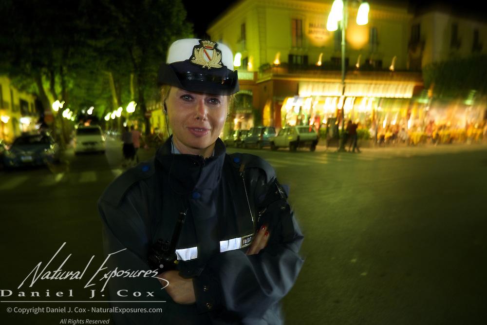 Police officer in Sorrento Square, Italy.