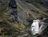 Waterfall along the Fjartdra River south Iceland, Europe